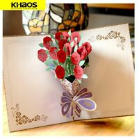 New 3D Pop Up Love Greeting Card Valentine Christmas wedding Birthday Love Rose