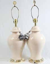 Ivory Off-White Ceramic Ginger Jar Large Table Lamps Pair  Asian Finials Tassels