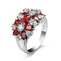 Red Ruby Flower Engagement Band Women's 925 Silver Wedding Ring Size 6/7/8/9/10
