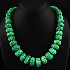 RARE 921.00 CTS NATURAL RICH GREEN EMERALD ROUND CARVED BEADS NECKLACE STRAND