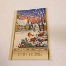 Vintage Greeting Card Christmas Brown Birds Home