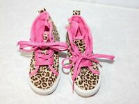 Circo Leopard Print High Top Little Girls Sneakers Size 8 Pink Glitter Laces Zip