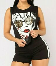 Muscle Tank Paris Fashion Casual Black White Sexy T Shirt Top Extra Small XS