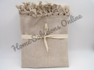 Pottery Barn Fringed Linen Knotted Tied Ends Table Runner Extra Large Flax #9311