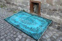 """Vintage Handmade Turkish Oushak Overdyed Turquoise Area Rug 6'8""""x3'11"""""""