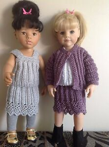 """Dolls clothes knitting pattern.18/19"""" doll. Lace edged skirt,top and jacketKNM78"""