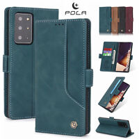 F Samsung Note 20 Ultra S20+ S10 Leather Case Wallet Card Slots Flip Stand Cover