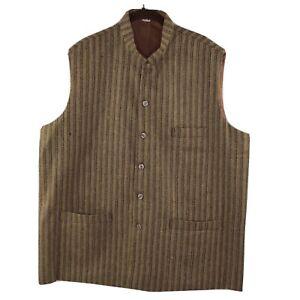 Men's Khadi Tailored Fit Party/Festive Indian Nehru Jacket Vest Waistcoat