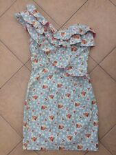 River Island Floral Frill One Shoulder Denim Mini Dress Size 10 Cath Kidston
