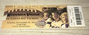 9/30/2007 Vikings Packers Metrodome Favre beat Marino Record TD Full Ticket Stub