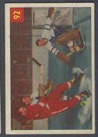 1954-55 Parkhurst Hockey Card #92 Harry Lumley Stops/Gordie Howe/Ron Stewart