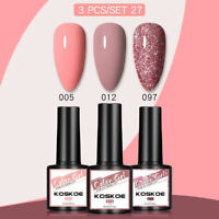 3PCS/SET KOSKOE Nail Gel Polish Kit Soak Off UV LED Colour Base Top Coat Varnish