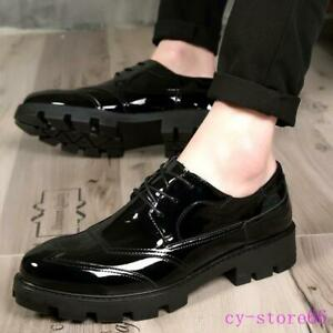 Shoes Men's British Brogues Lace Up Shiny Leather Casual business Platform 2021
