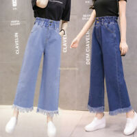 BF Women Korea Bell Flare Wide Leg Tassels High Waist Denim Jeans Pants Trousers