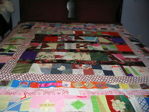 Quilt Full  size Crazy Quilt Hand Made Burgundy New 80 x 74 inches