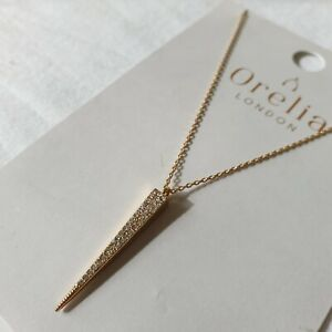 Orelia London Gold Plated Spear Sparkle Necklace Jewelled Pendant Triangular