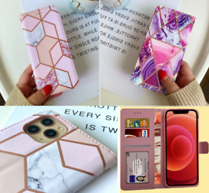 Marble Flip Wallet Case Cover for iPhone 11 12 Pro 7 8 XR SE 2020