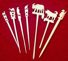 7 Carved Food Picks Elephant 2 Camels Water Buffalo Rooster Reuse Cheese Olive