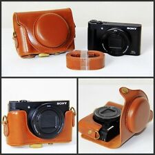 Brown Leather Camera Case Bag For Sony Cyber-shot DSC-HX80 HX80 DSCHX80 HX80V