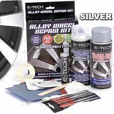 E-TECH Alloy Silver Wheel Repair Refurbishment Kit Wheel Spray Paint + Lacquer .