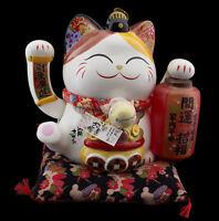Grand Gatto Giapponese Maneki Neko 31 CM IN Porcellana Zampa Animato Lanterna