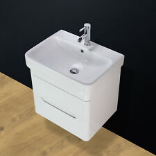 Basin Sink Vanity Unit Cabinet Bathroom Wall Hung Mounted Ceramic 600 mm SQ2 KL