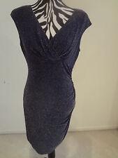 NWT.Ladies' ralph lauren navy/sliver color v-cross neck sleeveless dress;4