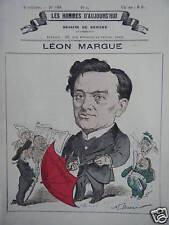 GRAVURE DE GILL POCHOIR 19ème LEON MARGUE NE PRES MACON NOTAIRE ET AVOCAT