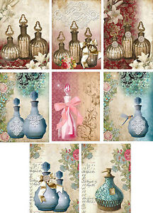 Vintage inspired perfume bottles note cards tags set of 8 with envelopes