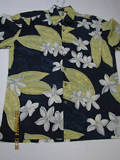 *KAHALA Hawaiian Shirt Aloha Made Cotton Lawn Mens S/S  M Palm Flower  Blue
