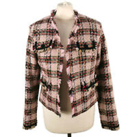 M&S Size 8 Pink Multicoloured Textured Frayed Check Short Jacket Wool Blend
