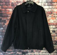 Claiborne Men's Black Bomber Jacket Suede Finish Coat Size Large