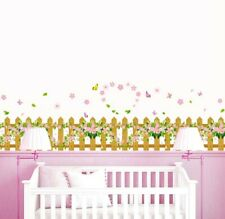 Flowers Garden Fence Wall Decal 3D Stickers Childs Bedroom Nursery Peel & Stick