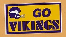 VINTAGE 1970s 2BAR HELMET MINNESOTA GO VIKINGS 6inch DECAL BUMPER STICKER UNUSED