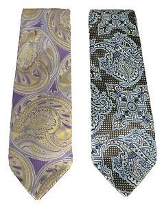 NEW! Lot of 2 Verse 9 Men's Silk Neck Ties  Brown, Blue, Purple, Gold Paisley