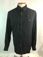Pronto Uomo XL X-Large Mens Shirt Button Down Black Striped Long Sleeve