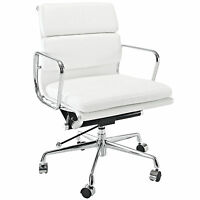 eMod Eames Style Soft Padded Office Chair Mid Back Reproduction White Leather