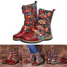 Womens Vintage Floral Combat Boots Ladies Zip Up Buckle Boho Ankle Boots Shoes