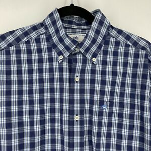 Southern Tide Shirt Mens Small Navy Blue White Button Down Cotton Stretch Logo
