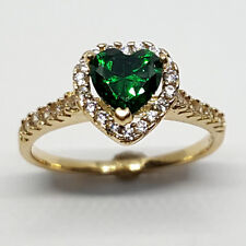 14K solid yellow gold heart shape faceted Emerald & white Topaz wedding ring