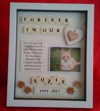PET CAT MEMORIAL PICTURE FRAME KEEPSAKE PERSONALISED RAINBOW BRIDGE BOX SCRABBLE