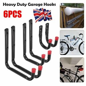 6Pcs Heavy Duty Storage Hooks Garage Tools Garden Shed Wall Mounted UK seller