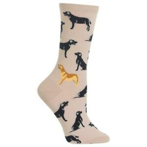 Labrador Dogs Hot Sox Women's Crew Socks Taupe New Colorful Novelty Woof Fashion