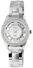Damenuhr Weiß Silber Analog Strass Quarz Edelstahl Armbanduhr D-8122500012895