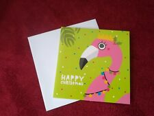 Cute Square Christmas Card Flamingo Lights  Open Greetings Holidays Seasonal