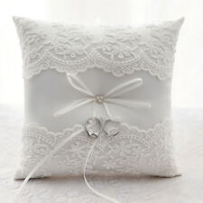 UK Stock Ivory Lace Ring Pillow Wedding Ring Bearer Cushion Engagement Party New