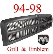 94 98 BLACK DODGE RAM 2Pc GRILL & OEM Emblem 1500 2500 3500 CH1200188
