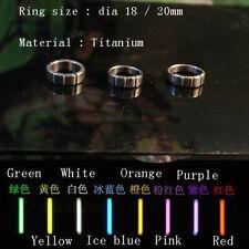 Pure Titanium Finger Ring w/ Tritium Tube Self-Illumination Light Pendant