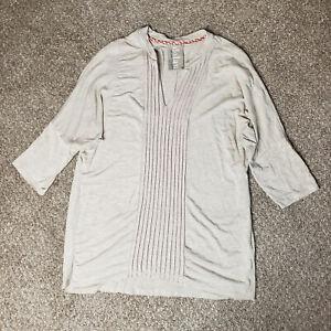 Dolan Anthropologie Top Womens Meidum Beege Pleated V Neck Dolman Sleeve Shirt