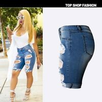 US Women Ripped High Waist Short Pants Jeans Slim Casual Trousers Summer Shorts